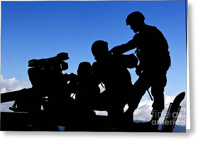 Launcher Greeting Cards - Silhouette Of Soldiers Operating Greeting Card by Stocktrek Images