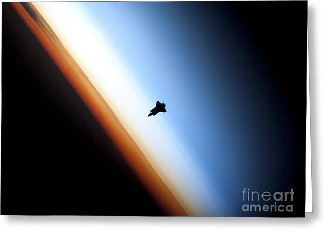 Space Shuttle Photographs Greeting Cards - Silhouette Of Space Shuttle Endeavour Greeting Card by Stocktrek Images