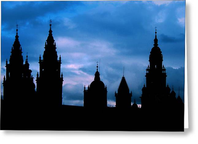 Silhouette Of Spanish Church Greeting Card by Jasna Buncic