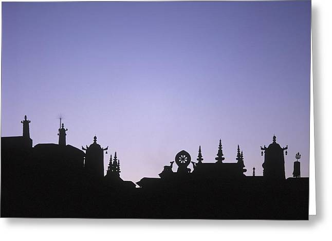 Tibetan Buddhism Greeting Cards - Silhouette Of The Front Of The Jokhang Greeting Card by Axiom Photographic