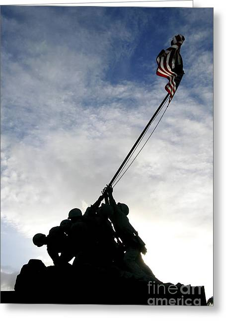 Figure Based Greeting Cards - Silhouette Of The Iwo Jima Statue Greeting Card by Michael Wood