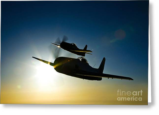 Bearcats Greeting Cards - Silhouette Of Two Grumman F8f Bearcats Greeting Card by Scott Germain
