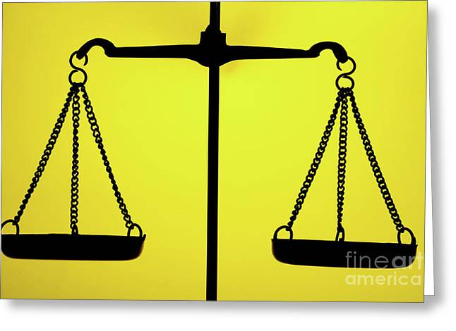 Equality Greeting Cards - Silhouette of weighing scales Greeting Card by Sami Sarkis