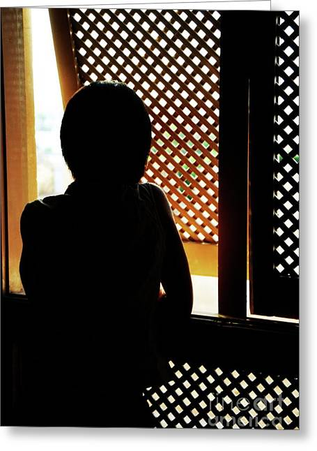 Women Only Greeting Cards - Silhouette of woman at Moucharabieh window Greeting Card by Sami Sarkis