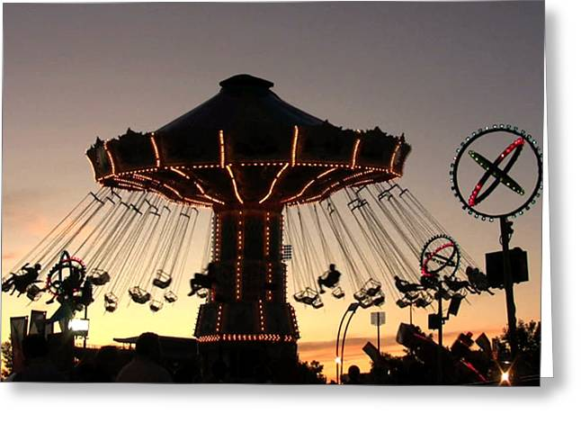 Amusements Greeting Cards - Silhouetted Amusement Ride Greeting Card by Kim French