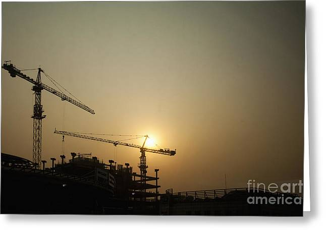 Tower Crane Greeting Cards - Silhouetted Construction Cranes Greeting Card by Shannon Fagan