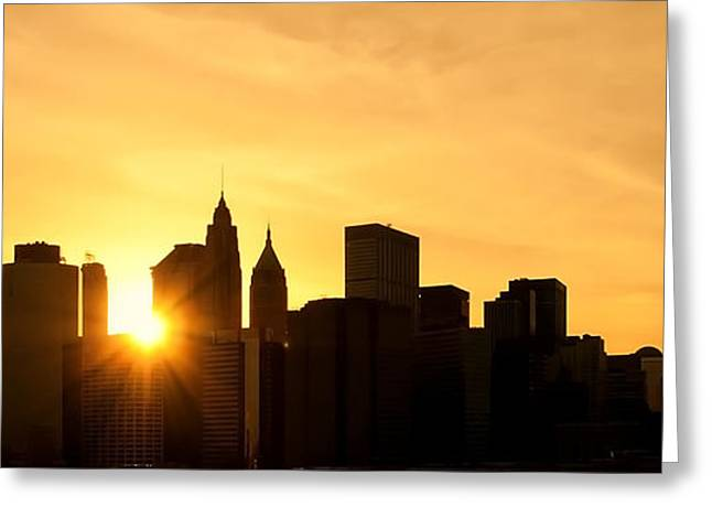 Busy Life Greeting Cards - Silhouetted Manhattan  Greeting Card by Svetlana Sewell
