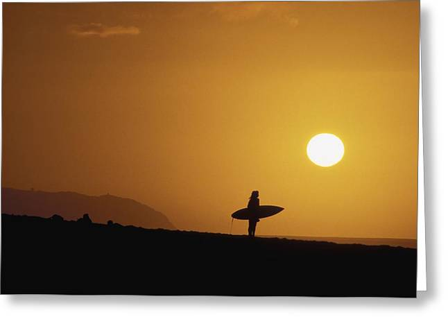 Surfing Art Greeting Cards - Silhouetted Surfer Greeting Card by Ali ONeal - Printscapes