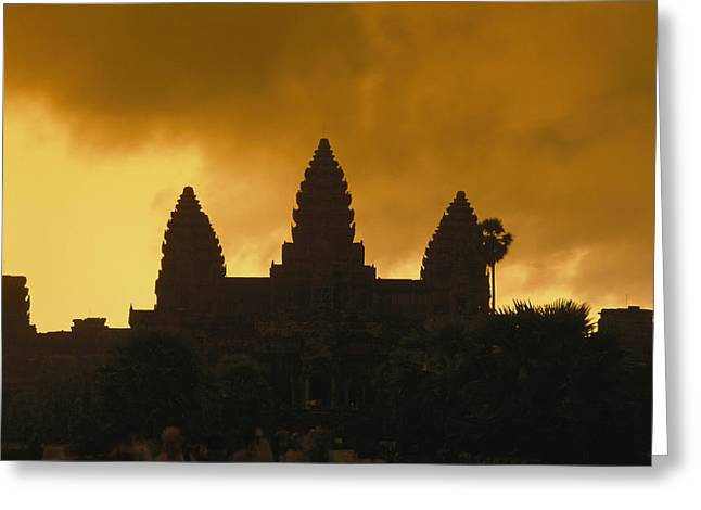Indochinese Architecture And Art Greeting Cards - Silhouetted Temples Of Angkor Wat Greeting Card by Richard Nowitz