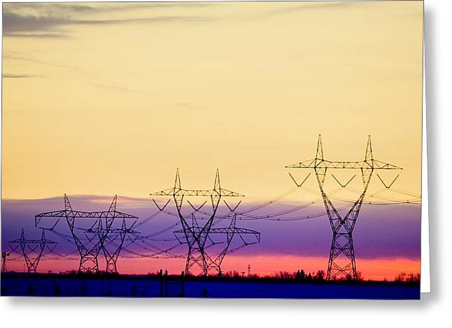 Electric Pylon Greeting Cards - Silhouetted Transmission Towers Greeting Card by Richard Wear