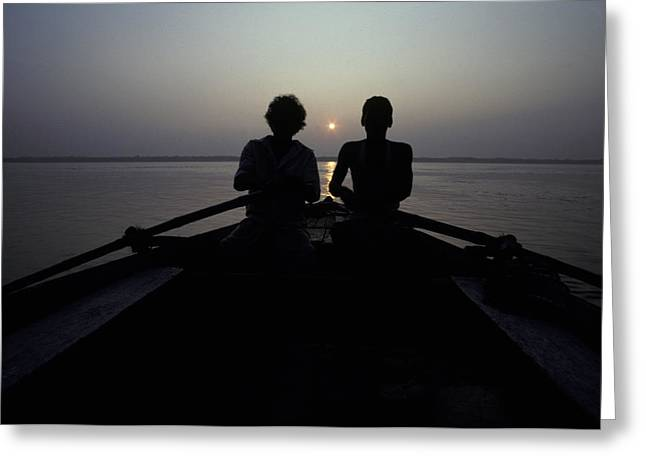 Boatman Greeting Cards - Silhouettes Of Boatmen Rowing At Dawn Greeting Card by Jason Edwards