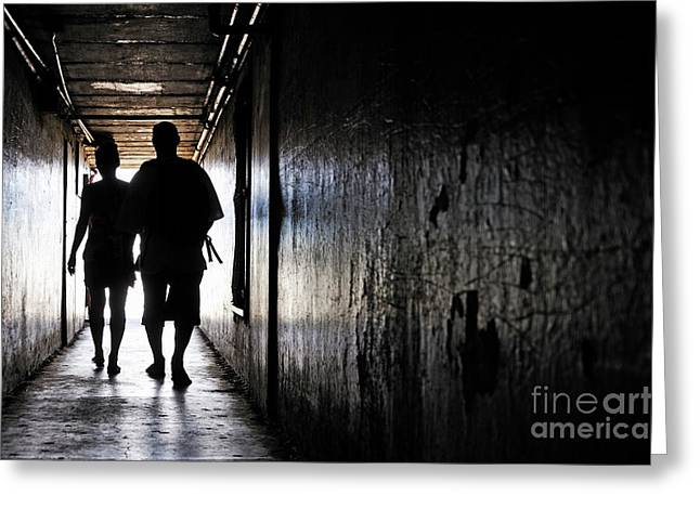 Bonding Greeting Cards - Silhouettes of couple walking in a dark corridor Greeting Card by Sami Sarkis
