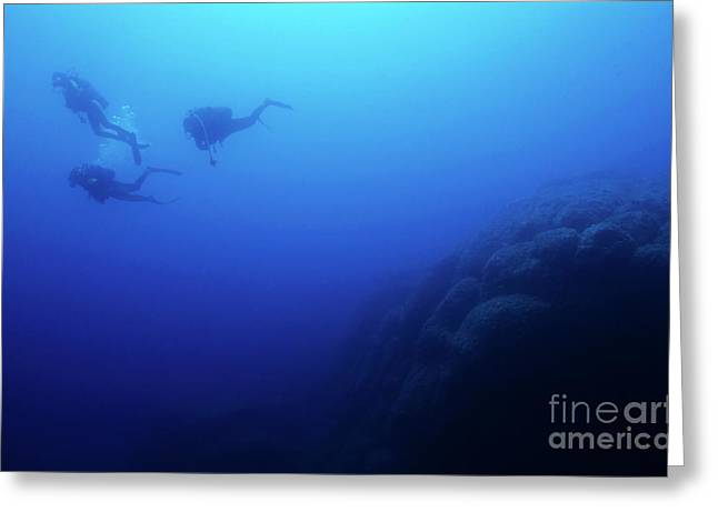 Scuba Diving Greeting Cards - Silhouettes of three scuba divers swimming in the blue waters Greeting Card by Sami Sarkis