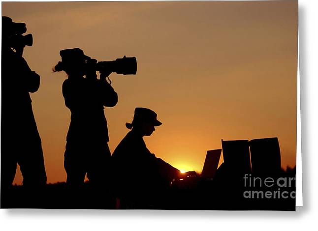 Reporting Greeting Cards - Silhouettes Of Three U.s. Air Force Greeting Card by Stocktrek Images