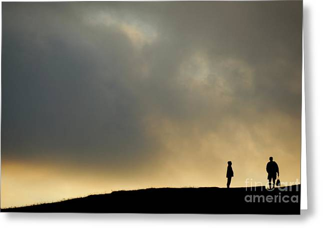 Women Only Greeting Cards - Silhouettes of two people standing on horizon Greeting Card by Sami Sarkis