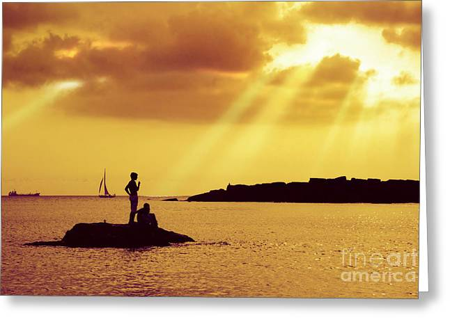 Heavenly Sunrise Greeting Cards - Silhouettes on the Beach Greeting Card by Carlos Caetano