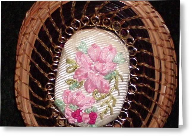 Pine Needles Mixed Media Greeting Cards - Silk Embroidery pine needle jewelry box Greeting Card by Georgiana and Russell Barton