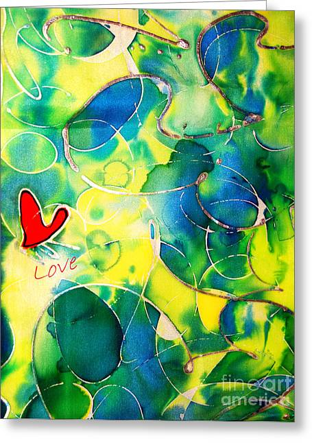 Artwork Tapestries - Textiles Greeting Cards - Silk Painting With a Heart  Greeting Card by Alexandra Jordankova