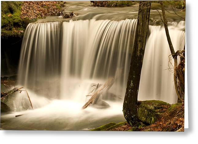Deluge Greeting Cards - Silken Waterfall Greeting Card by Douglas Barnett