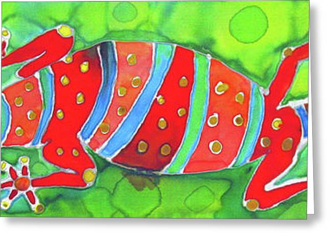 Island Tapestries - Textiles Greeting Cards - Silky Gecko Greeting Card by Kelly     ZumBerge
