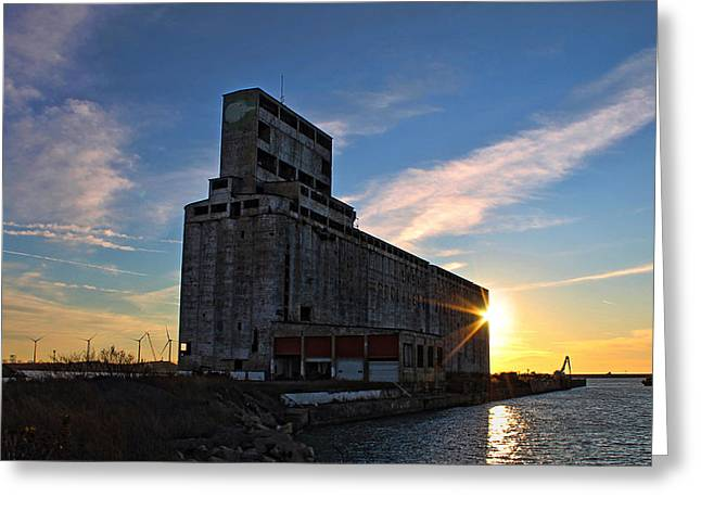 Grain Greeting Cards - Silo Sundance Greeting Card by Peter Chilelli