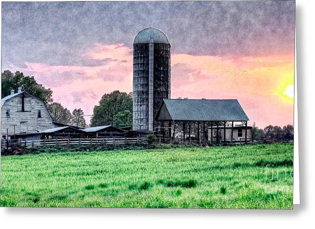 Artist Fashion Art Greeting Cards - Silo Sunset II Greeting Card by Dan Carmichael