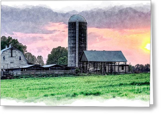 Artist Fashion Art Greeting Cards - Silo Sunset III Greeting Card by Dan Carmichael