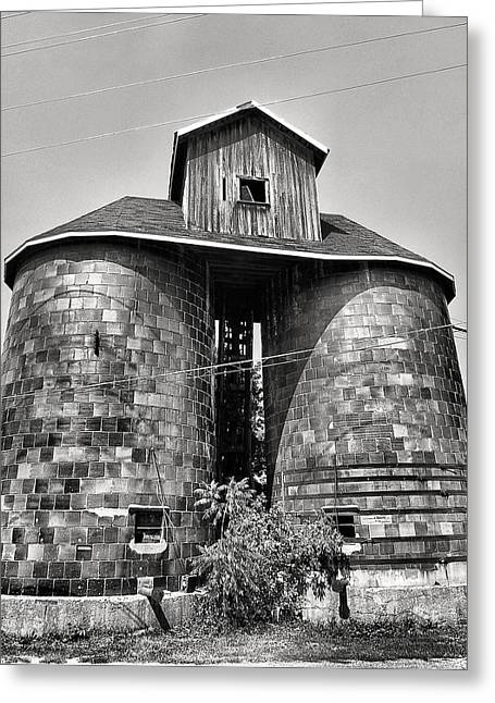 Railroads Framed Prints Greeting Cards - Silos And Grain Elevator Greeting Card by Steven Ainsworth