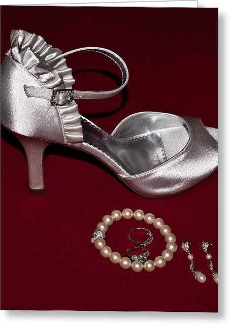 Ear Rings Greeting Cards - Silve Slipper and Pearls 1 Greeting Card by Douglas Barnett