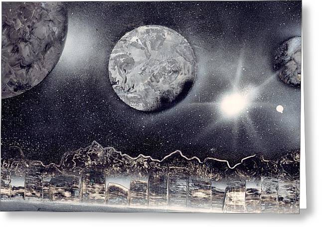 Marc Chambers Greeting Cards - Silver and Black space city Greeting Card by Marc Chambers