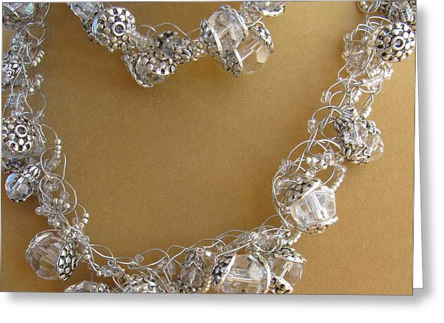 Sculpture Jewelry Greeting Cards - Silver and Ice Crystals Greeting Card by Annette Tomek