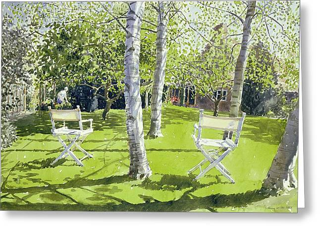 Deck Chairs Greeting Cards - Silver Birches Greeting Card by Lucy Willis
