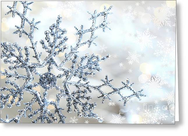 Iceflower Greeting Cards - Silver blue snowflake  Greeting Card by Sandra Cunningham