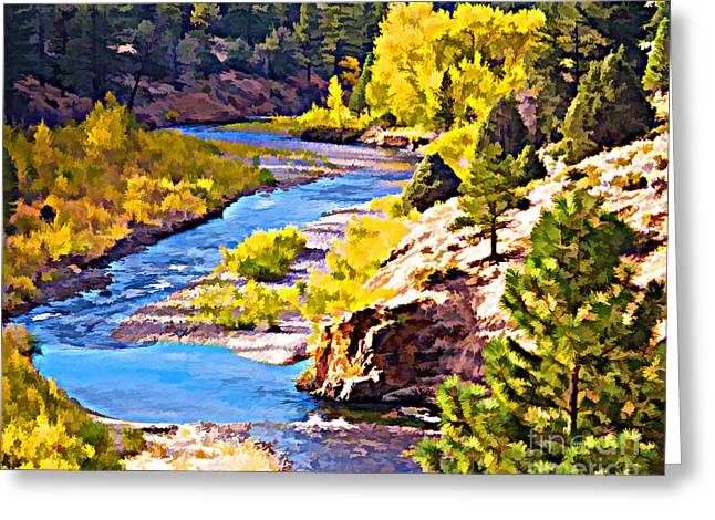 Fishing In Stream Print Greeting Cards - Silver Creek Greeting Card by L J Oakes