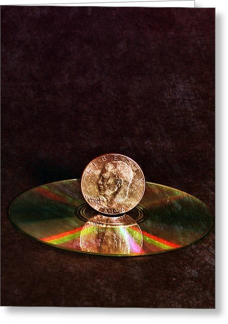 Refraction Greeting Cards - Silver Dollar Greeting Card by Peter Chilelli