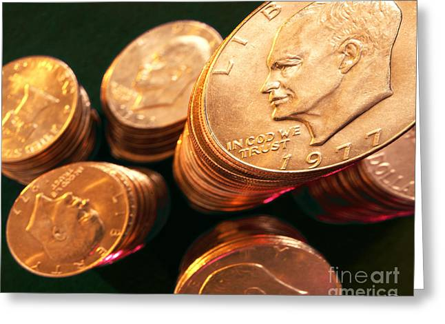 Coins Greeting Cards - Silver Dollars Greeting Card by Vance Fox