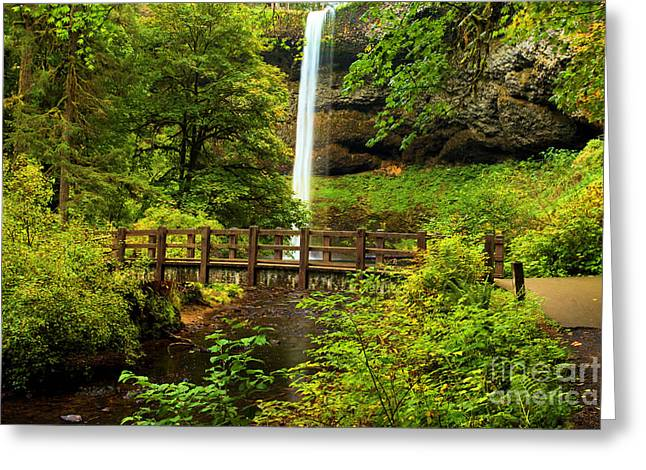 Best Sellers -  - State Parks In Oregon Greeting Cards - Silver Falls Bridge Greeting Card by Adam Jewell