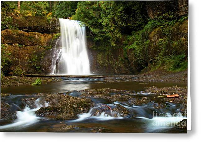 Silver Falls Greeting Cards - Silver Falls Waterfall Greeting Card by Adam Jewell