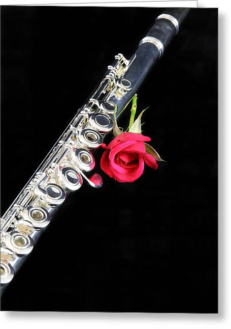 Canvas Wrap Greeting Cards - Silver Flute Red Rose Greeting Card by M K  Miller