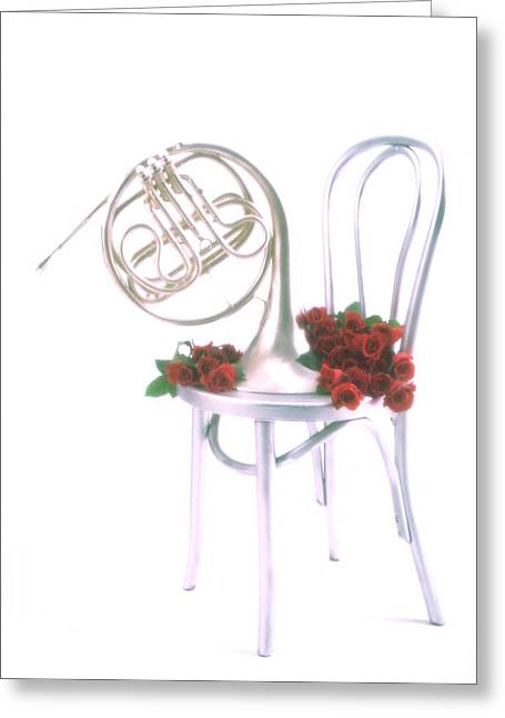 Symphonies Greeting Cards - Silver French horn on silver chair Greeting Card by Garry Gay