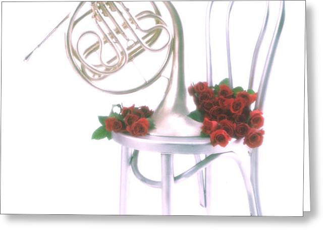Silver French horn on silver chair Greeting Card by Garry Gay