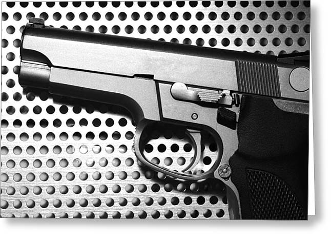 Police Special Greeting Cards - Silver Gun  On Metal Background  Greeting Card by Nattapon Wongwean