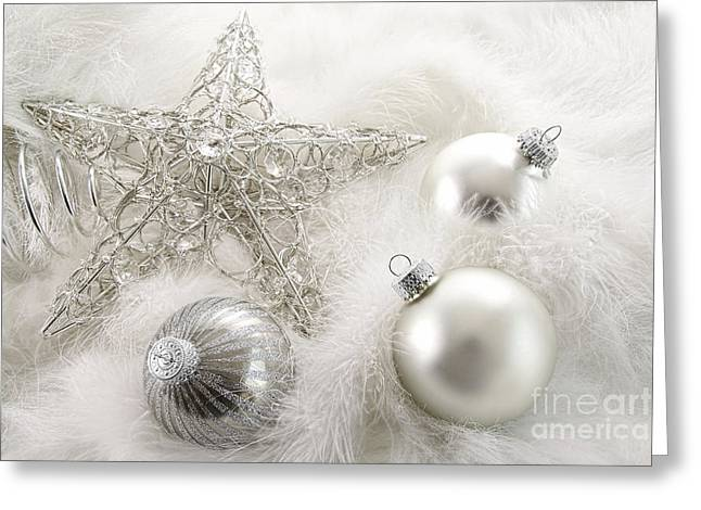 Spheres Greeting Cards - Silver holiday ornaments in feathers Greeting Card by Sandra Cunningham