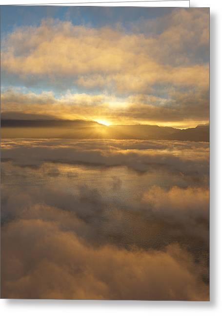 Cloud Digital Art Greeting Cards - Silver Lake Sunrise Greeting Card by Mark Greenberg