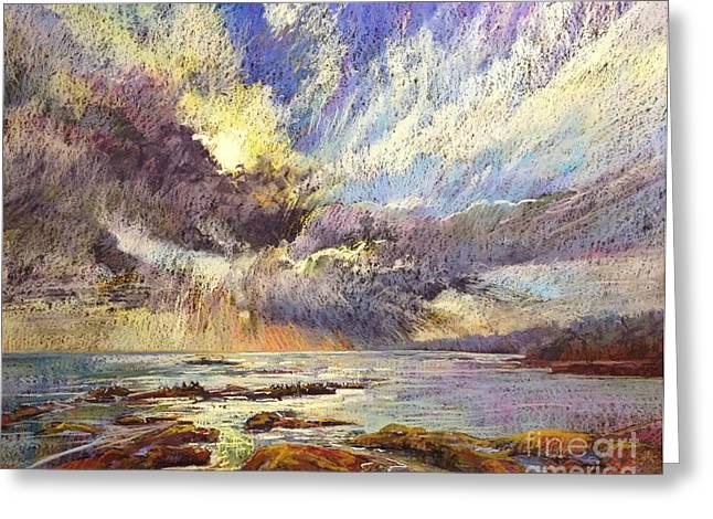 Dramatic Pastels Greeting Cards - Silver Lining Greeting Card by Pamela Pretty