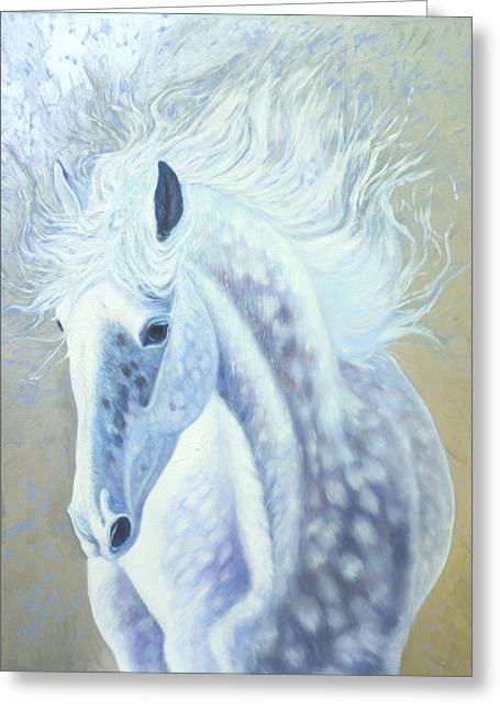 Silver Mare Greeting Card by Gill Bustamante