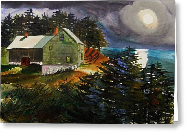 Jmwportfolio Drawings Greeting Cards - Silver Moon Farm Greeting Card by John  Williams