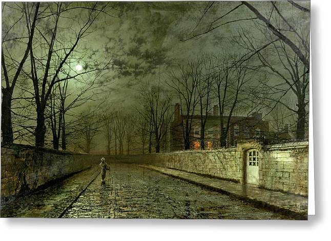 Street Lights Greeting Cards - Silver Moonlight Greeting Card by John Atkinson Grimshaw