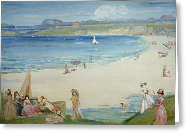 Lady In Pool Greeting Cards - Silver Sands Greeting Card by Charles Edward Conder
