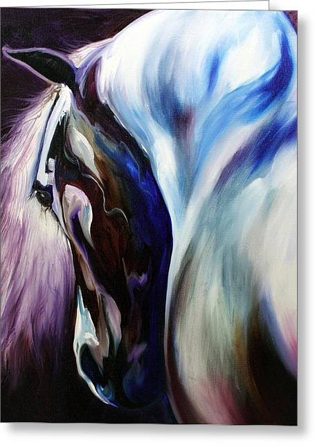 Blue Horse Greeting Cards - Silver Shadows Equine Greeting Card by Marcia Baldwin
